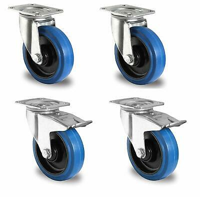 4er Set TENTE Blue Wheels Lenkrollen 100mm Rollen