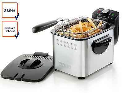 Electric Fryer 3 Litre Capacity Domo Stainless Steel Thermostat up to 190°