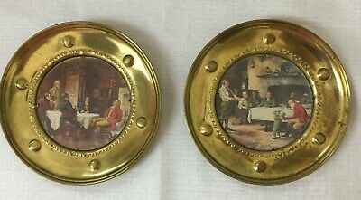 "Lot of 2 Vintage 5.5"" Brass Wall Plates With Pictures Made In England"