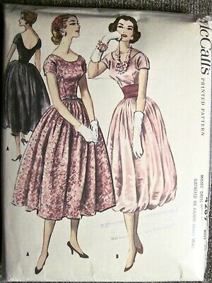 Vtg 1957 McCall's Evening Cocktail Dress w/Harem Drape Skirt Pattern #4289 Sz16