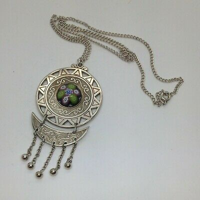 Stunning Vintage Hallmarked Sterling Silver Caithness Glass Pendant Necklace