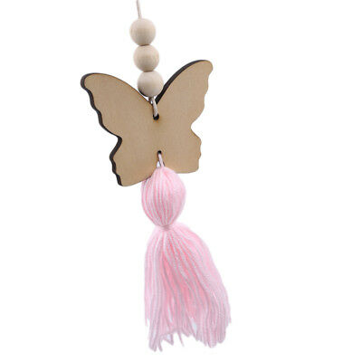 Nordic Style Butterfly Wooden Beads Tassels Wall Hanging Child Room Ornament CH