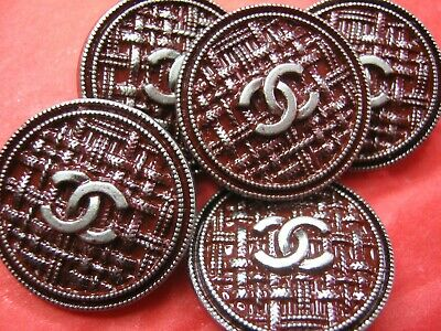 CHANEL 5 BUTTONS MAROON PEWTER   22 mm , 1 inch metal with  cc logo
