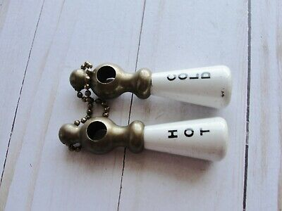 Old Vintage White Porcelain Hot Cold Water Faucet knobs Handles Sink Tub Brass