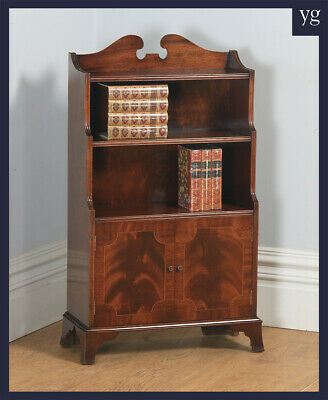Antique English Georgian Regency Style Flame Mahogany Inlaid Waterfall Bookcase