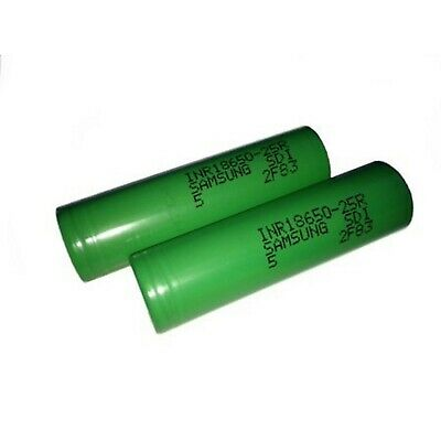 2 Samsung 25R 18650 2500 mAh 35A High Drain Rechargeable Battery  with case