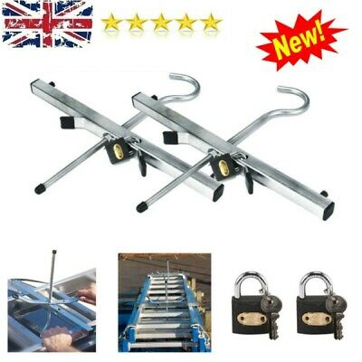 Universal Heavy Duty Ladder Roof Rack Clamps Lockable Free Locks Ladders Safety