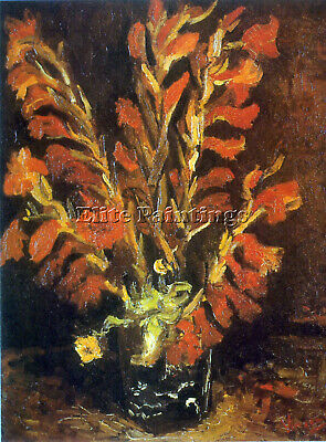 Red Gladioli Artist Painting Reproduction Handmade Oil Canvas Repro Art Deco