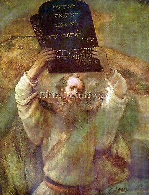 Moses With The Commandments By Rembrandt Artist Painting Oil Canvas Repro Art