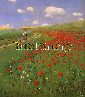 A Field Of Poppies  Merse 88X79 Cm Artist Painting Oil Canvas Repro Art Deco