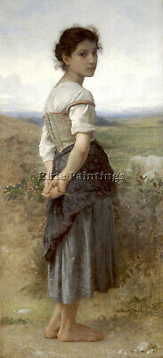 Bouguereau The Young Shepherdess Artist Painting Oil Canvas Repro Wall Art Deco