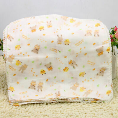 10Pcs Baby Newborn Gauze Muslin Square 100% Cotton Soft Bath Wash Handkerch H7O0