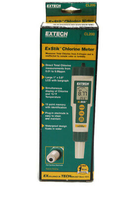 Extech CL200 ExStik Waterproof Chlorine Meter Readings Digital Display