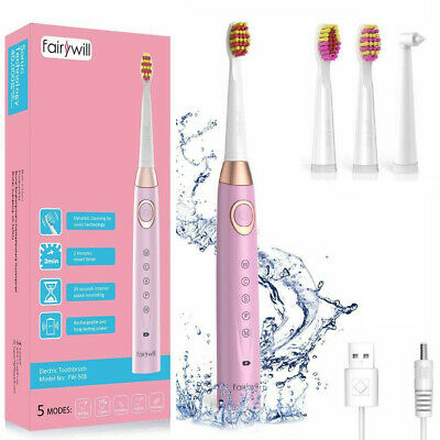 Fairywill Sonic Electric Toothbrush Rechargeable with Timer Adult 5 Modes Pink
