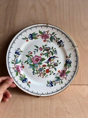 """Aynsley Bread and Butter Plate """"Pembroke"""" Bird And Floral Design - Gold Trim"""