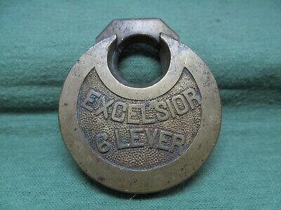 Vintage / Antique Excelsior 6 Lever Brass Padlock Lock - No Key (#2)