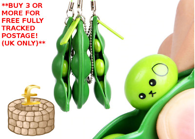 1x Stress Relief Toy Anti-Anxiety Toy Adults Autism Pea Pod Keyring Squeezy Bean