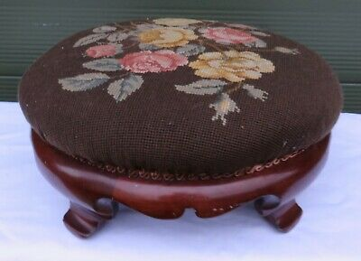 Antique William IV J. Kendall & Co Round Walnut Upholstered Stool Footstool