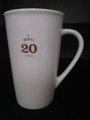 Starbucks 2010 Venti 20 Oz. White Tall Ceramic Coffee Latte Cup Mug