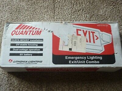 Lithonia Lighting Quantum Green LED Exit Sign, Twin Krypton Emergency Lights New