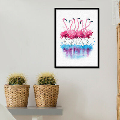 Ne_ Uk_ Eg_ Creative Flamingo Watercolor On Canvas Art Print Oil Painting Home