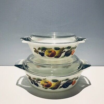 PYREX JAJ KENT ORCHARD HAWAII 2 Casseroles With Lid Made in England