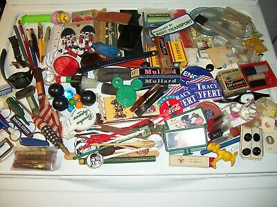 Junk Drawer Lot From Estate Pens Buttons Barware Drafting Jewelry Vintage Old
