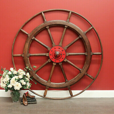 Large Antique French Ships Wheel Nautical Marine Boat Steering Wheel Oak Steel