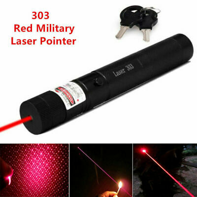 Military High Power 303 RED Laser Pointer Pen with 18650 Battery AU SHIP Black