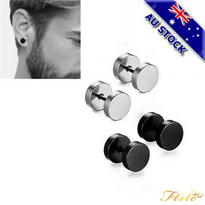 Genuine 316L Surgical Steel Gold Plated Flat Round Barbell Stud Earrings Gift