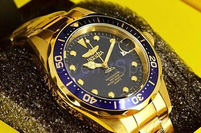 Invicta Men's Watch 17052 Pro Diver Blue Sunray Dial 18K Gold Plated Steel Case