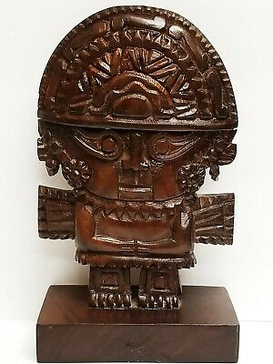 Large Vintage Hand Carved Wood Peruvian INCA Tumi God Statue 9 1/4""