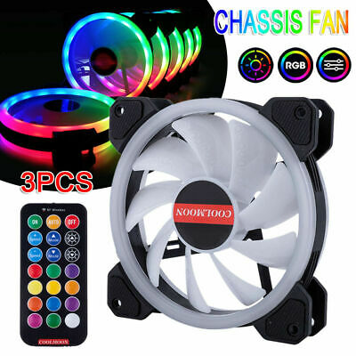 3-Pack RGB LED Quiet Computer Case PC Cooling Fan 120mm with Remote Control NEW