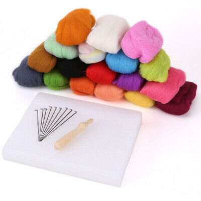 Natural Wool w/ Tool for Needle Felting Starter Kit Toy Fun hand Craft 871