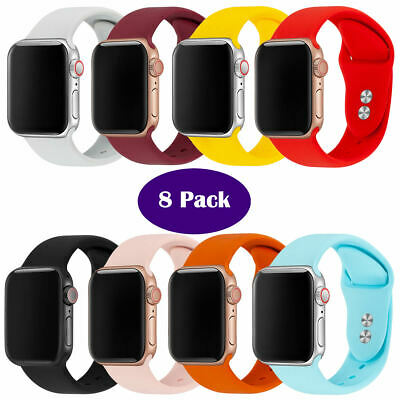 8 Pack Replacement Rubber Bracelet Band for Apple iWatch Strap 38/40mm 42/44mm