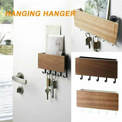 Wooden Wall Mounted Hanging Hanger Hooks Key Holder Storage Rack Organizer %N