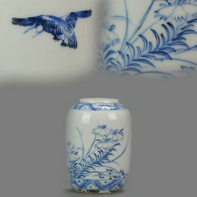 Miniature Antique Chinese Porcelain Ming Period Vase / Pot Flowers Bird[...