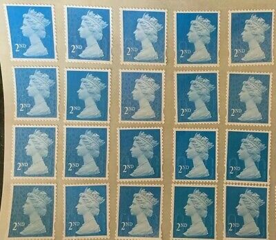 100 2Nd Second Class Blue Security Stamps Unfranked Off Paper With Original Gum
