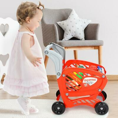 3 in 1 Kids Shopping Trolley Cart & Pretend Play Food Supermarket Role play Toy