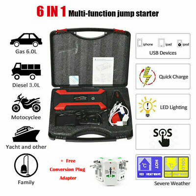 89800mAh 12V Car Jump Starter Pack Booster Charger Battery Power Bank Compass UK