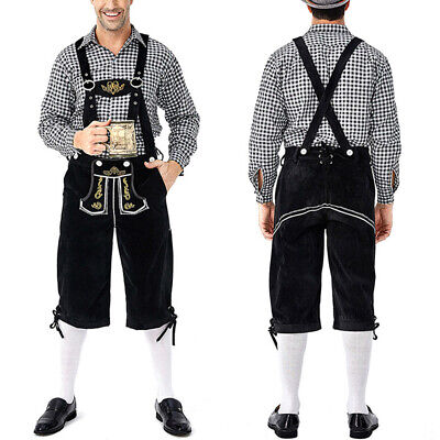 1 Set Oktoberfest Shirt Bib Pants German Costumes Lederhosen For Men UK Stock