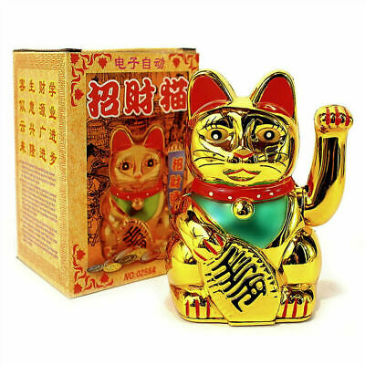 "LUCKY BECKONING CAT 5"" Gold Wealth Waving Kitty Maneki Shui Feng Neko E6N7 R7C3"