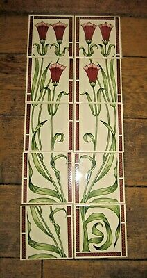 MINTON HOLLIN ANTIQUE X 10 FIREPLACE TILES Fanfare