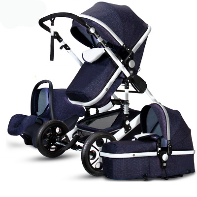 Luxury 3 IN 1 Baby Stroller High View Pram Foldable Pushchair Bassinet Car Seat