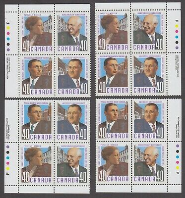 CANADA MATCHED SET PLATE BLOCKS 1302-1305MNH 40c x 16 CANADIAN DOCTORS