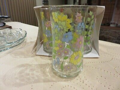 Corning Corelle Spring Meadow 12 Oz Libbey Glass Tumbler New Old Stock