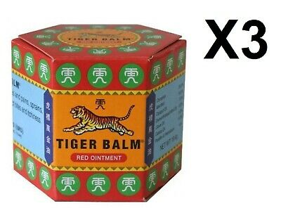Lot 3 Baume du Tigre Rouge 21 ml x 3 Tiger Balm Red Ointment Rhumatismes /EBUZ