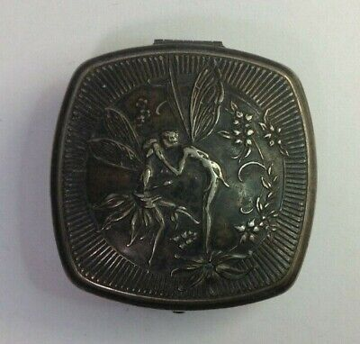 Vintage Silverplate Djer Kiss Fairy Compact Folding Mirror