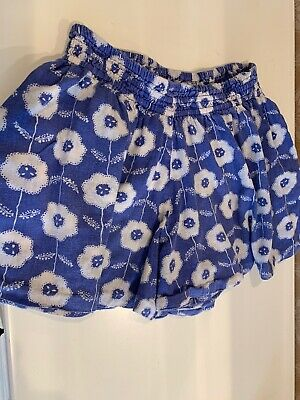 Mini Boden Girl's Size 9-10 Years Blue Floral Shorts With Pockets