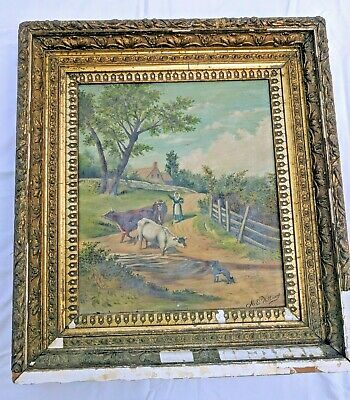 ANTIQUE 1885 FARM LANDSCAPE Oil painting on canvas Signed W/ Cows + Dog 1800s